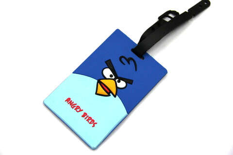 Silicone/Rubber luggage tags, cartoon, Angry birds, #02001-002-2
