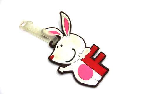 Silicone/Rubber luggage tags, cartoon, rabbit , #02001-003