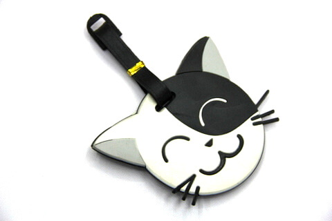 Silicone/Rubber luggage tags, cartoon, cat, #02001-006
