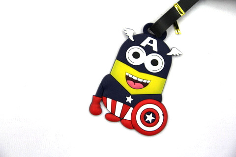 Silicone/Rubber luggage tags, cartoon, little yellow man, #02001-007
