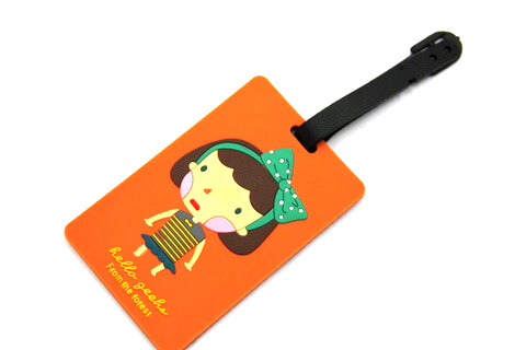 Silicone/Rubber luggage tags, cartoon,hello girl , #02001-0022-3