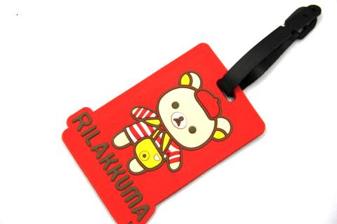 Silicone/Rubber luggage tags, cartoon,rillakkuma, #02001-0030-3