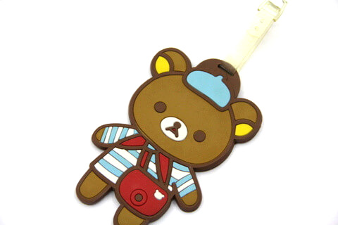 Silicone/Rubber luggage tags, cartoon,bear, #02001-0030-6