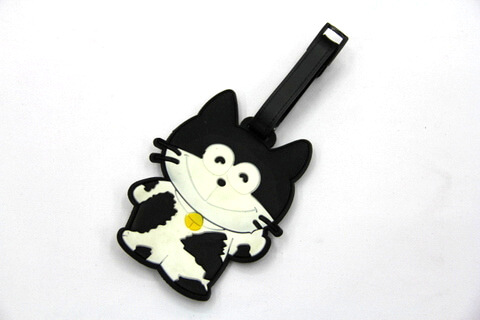 Silicone/Rubber luggage tags, cartoon,cat, #02001-066