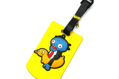 Silicone/Rubber luggage tags, cartoon,devil on duck, #02001-067