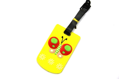 Silicone/Rubber luggage tags, cartoon,butter fly, #02001-068