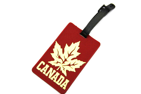 Silicone/Rubber Luggage tags of National Flag, Canada, #02002-005
