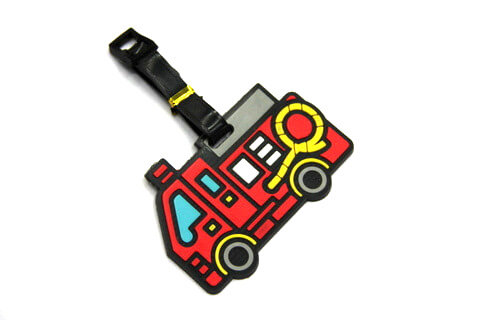 Silicone/Rubber luggage tags, cartoon, fire engine , #02001-033