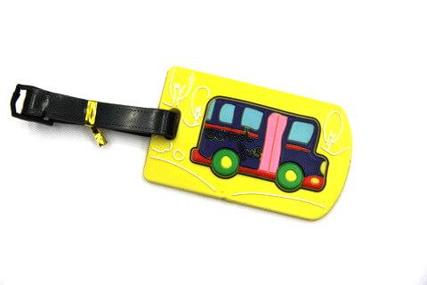 Silicone/Rubber luggage tags, cartoon, school bus , #02005-020