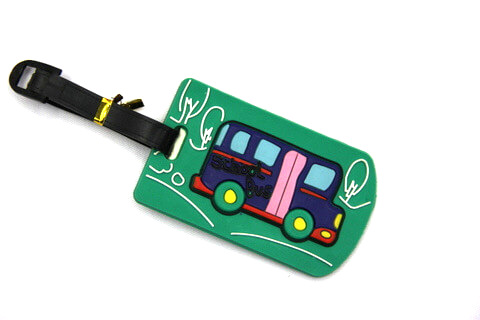 Silicone/Rubber luggage tags, cartoon, school bus , #02005-033
