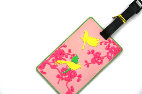 Silicone/Rubber luggage tags for tourist souvenir & gifts, China culture - plum / 梅 , #02005-035