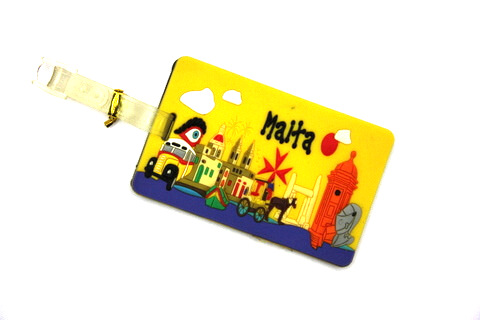 Silicone/Rubber luggage tags for tourist souvenir & gifts, Malta, #02005-041