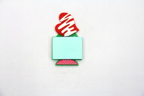 Silicone/Rubber Fridge Magnets Notepad Heart #02012-007