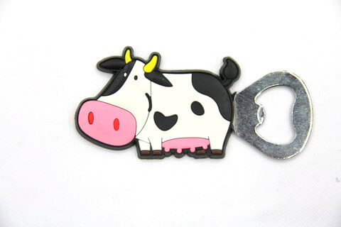 Silicone/rubber bottle opener cartoon cow #02015-039