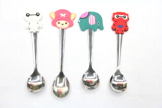 Silicone/Rubber Promotional rubberized head ss spoon  #02016-013