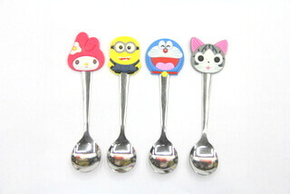 Silicone/Rubber Promotional rubberized head ss spoon  #02016-014