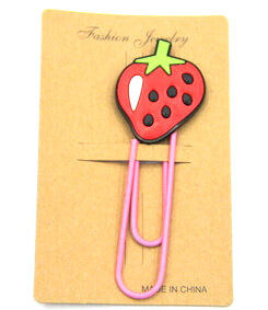 Silicone/Rubber Bookmarks cartoon strawberry #02018-005