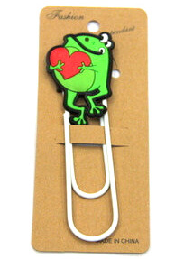 Silicone/Rubber Bookmarks cartoon frog with love heart #02018-012