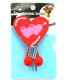 Silicone/Rubber toothbrush holder cartoon love #02020-016