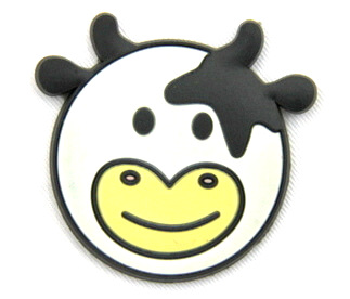 Silicone/Rubber fridge magnets Cute cartoon animals cow head #02021-004