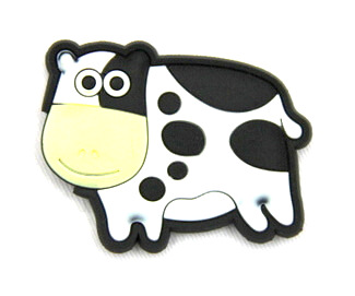 Silicone/Rubber fridge magnets Cute cartoon animals cow #02021-014