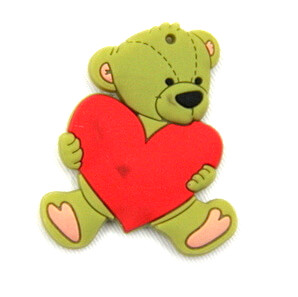 Silicone/Rubber fridge magnets Cute cartoon animals bear with love heart #02021-015