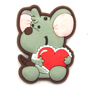 Silicone/Rubber fridge magnets Cute cartoon animals mouse with love heart #02021-016