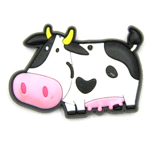 Silicone/Rubber fridge magnets Cute cartoon animals black and white cow #02021-023