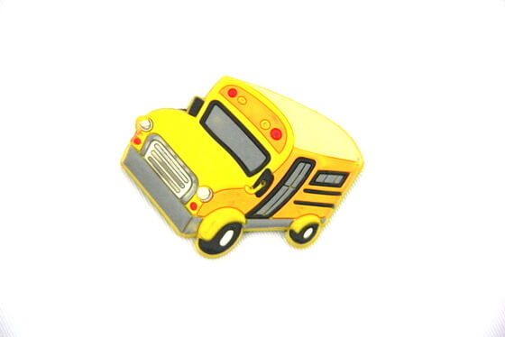 Silicone/Rubber fridge magnets school bus #02022-002