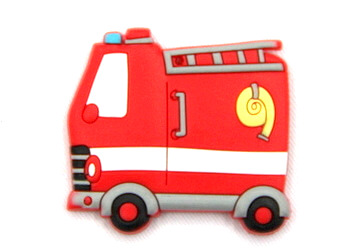 Silicone/Rubber fridge magnets cute cartoon fire engine #02022-012
