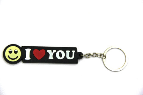 Silicone / rubber soft plastic key chain (ring) I Love You