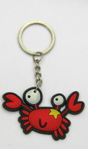 Silicone / rubber soft plastic key chain (ring) Red Crab with Star