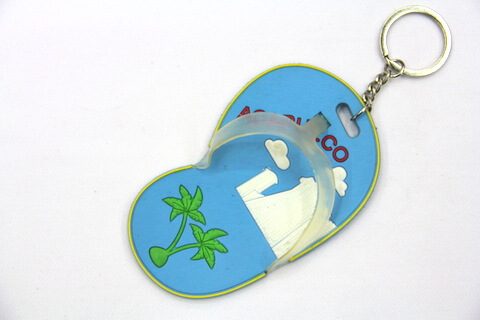 Silicone / Rubber Soft Key Chain in Shapes of Slippers #02027-005