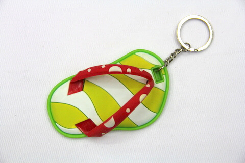Silicone / Rubber Soft Key Chain in Shapes of Slippers #02027-015