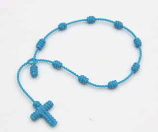 Silicone/Rubber Braided String Bracelet Shape with cross for religion # 02030-015