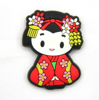 Silicone/Rubber fridge magnets, Cute cartoon, Japanese girl, #02032-008