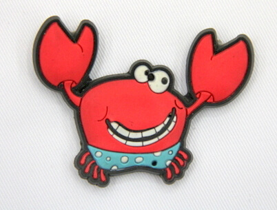 Silicone/Rubber fridge magnets Cute cartoon, sea animals, crab, #02033-003