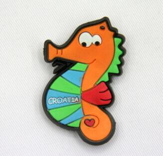 Silicone/Rubber fridge magnets Cute cartoon, sea animals, Croatia sea horse, #02033-007