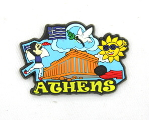 Silicone/Rubber Fridge Magnet tourist souvenirs, Greece, Athens, # 02035-001