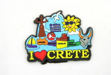 Silicone/Rubber Fridge Magnet tourist souvenirs, Greece, I love Grete, # 02035-002