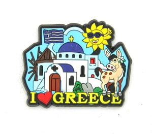 Silicone/Rubber Fridge Magnet tourist souvenirs, Greece, I love Greece, # 02035-003