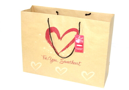 Two sides 180g Craft Paper Bag, sweet heart, #03010