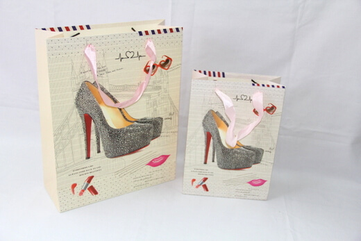 210g White cardboard gift Paper Bag for women / girls / lady, high heel shape, #03015