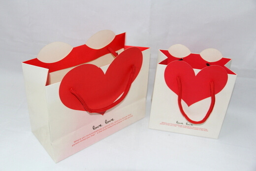 210g White cardboard gift Paper Bag, big red heart, #03017