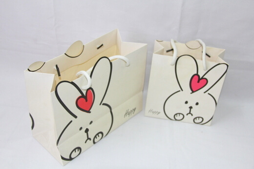 210g White cardboard Paper Bag, rabbit & red heart,  #03018