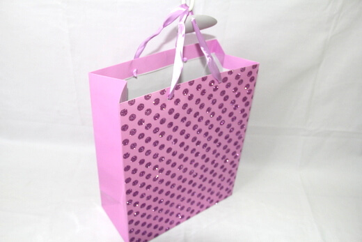 Two sides 250g White cardboard Paper Bag, bling shiny reflective dots, #03029