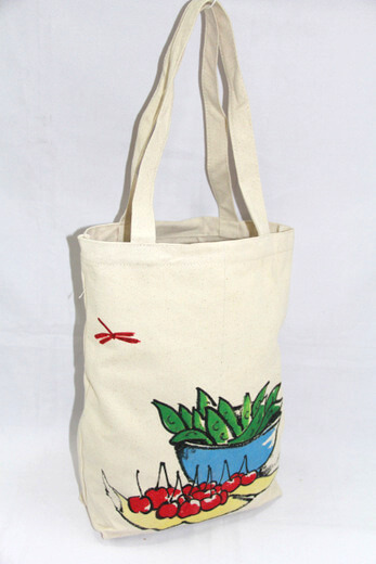 Reusable promotional cotton/canvas shopping totes with custom print/logo, #04-006