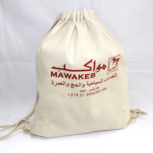 Reusable promotional cotton/canvas drawstring bag with custom print/logo, #04-032