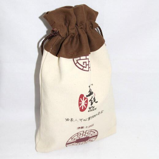 Reusable promotional cotton/canvas drawstring bag with custom print/logo, #04-044