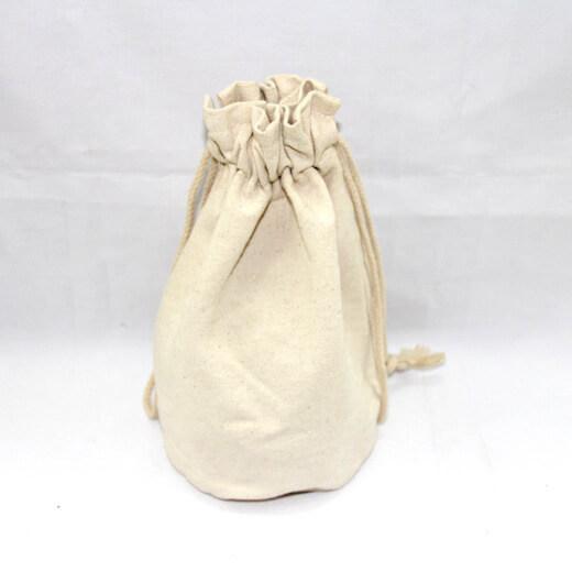 Reusable promotional cotton/canvas drawstring bag plain, #04-046